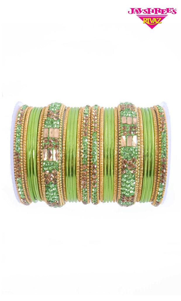 Stone Work Light Green Bangles