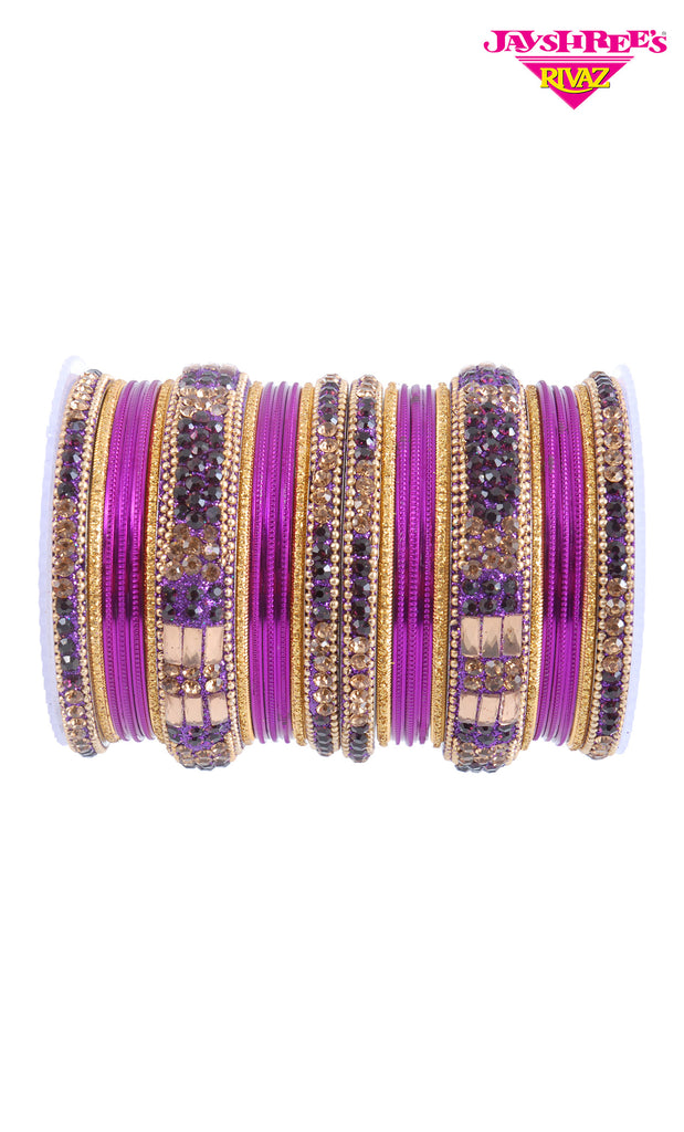 Stone Work Purple Bangles