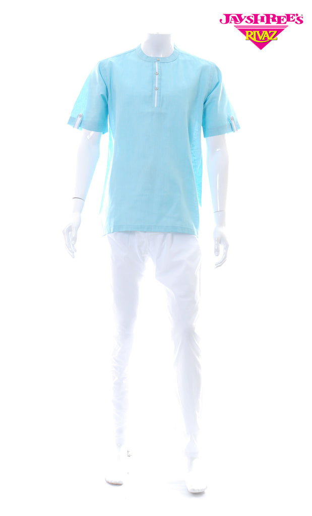 Mens Light Blue Kurta Top