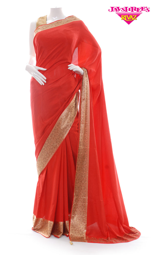 Red & Gold Plain Border Sari
