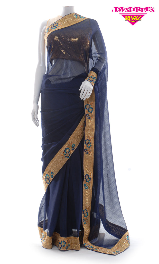 Navy & Gold Emb Sari