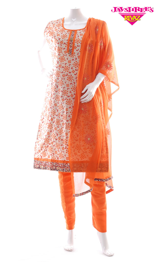 Orange & Beige Printed Churidar
