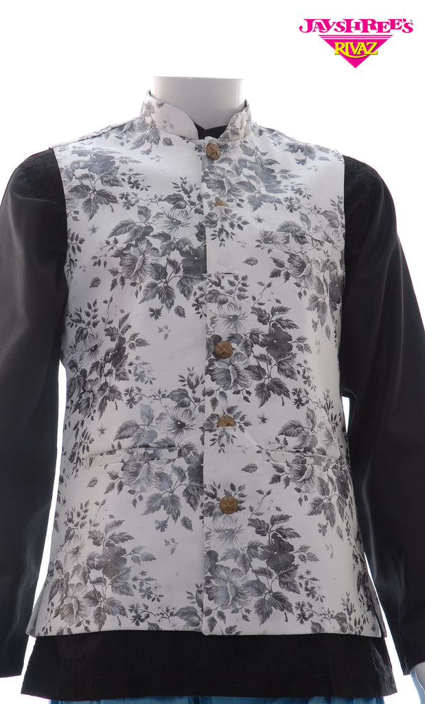 White Floral Printed Waistcoat