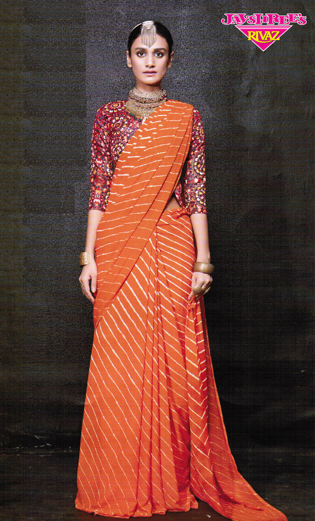 Mustard Striped Printed Sari