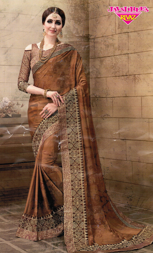Brown & Gold Emb Sari