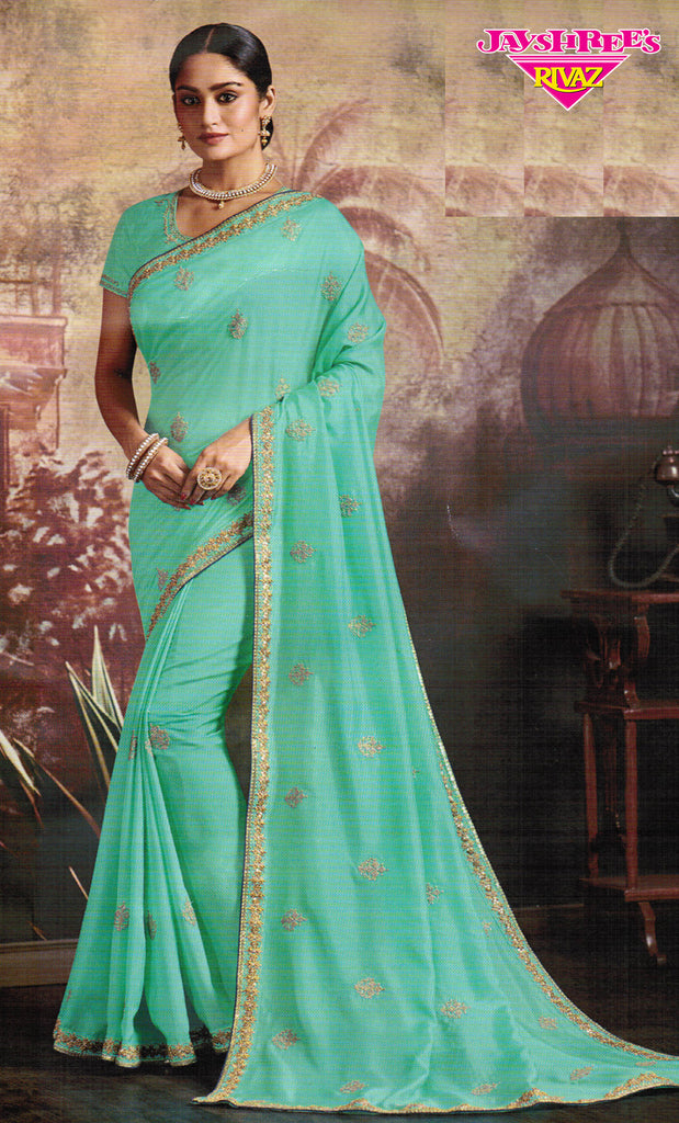 Light Aqua & Gold Emb Sari