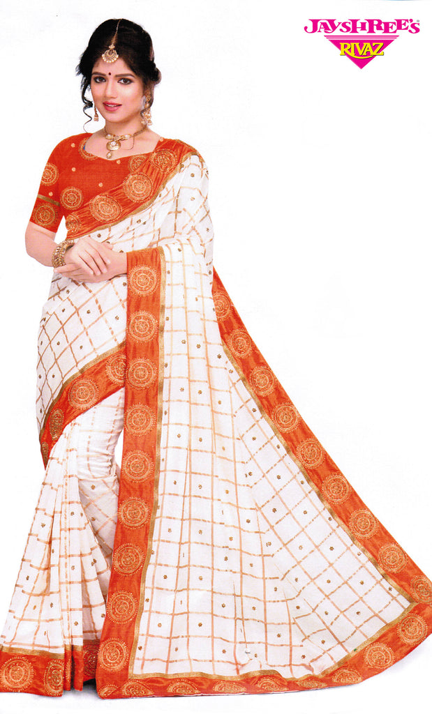 Orange, White & Gold Sari
