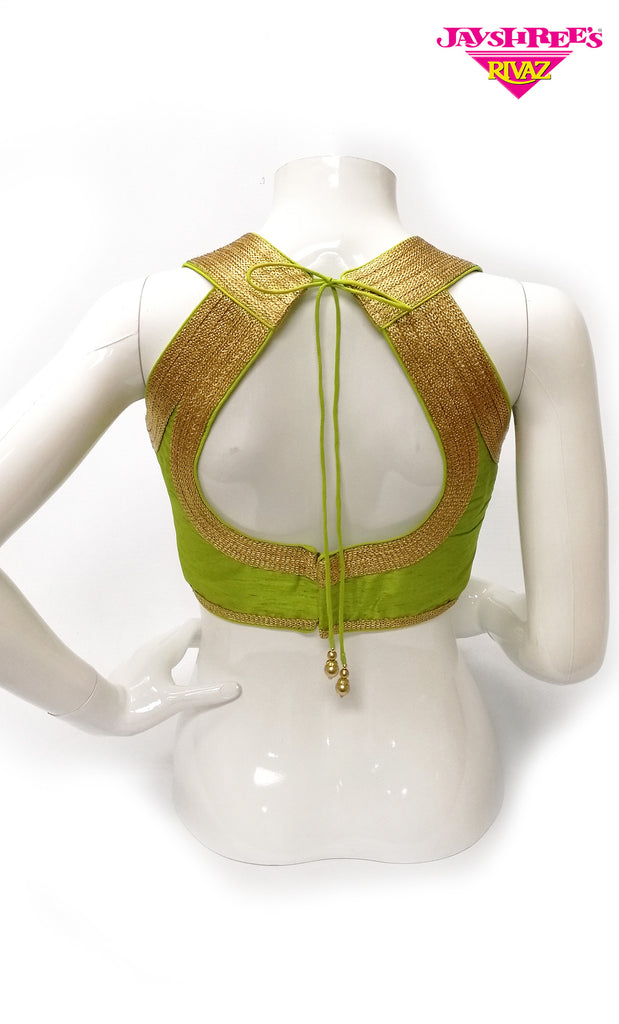 Lime Green Gold Woven Silk Blouse