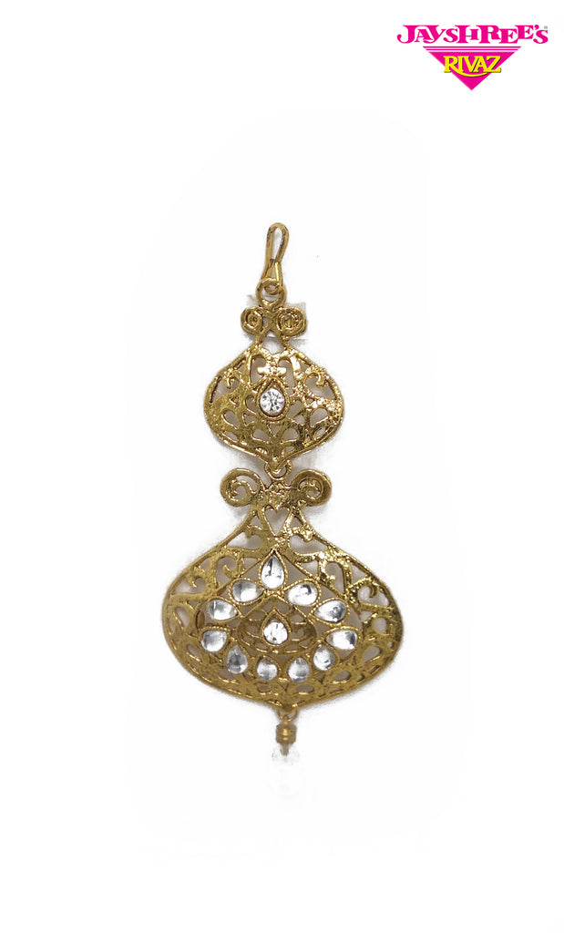 Gold & White Stone Work Sirbandi