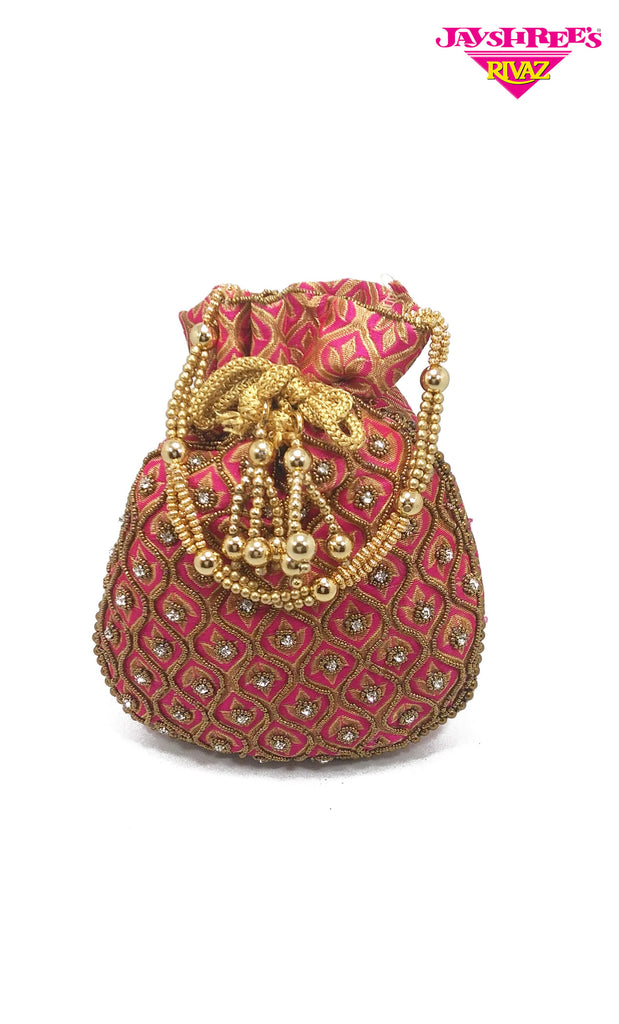 Cerise Bead Work Pouch Bag