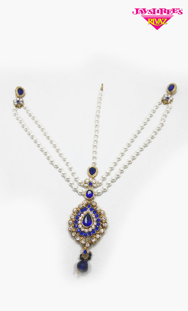 Royal Blue Pearl Work 3 Way Sirbandi