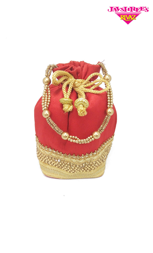 Apple Red & Gold Pouch Bag