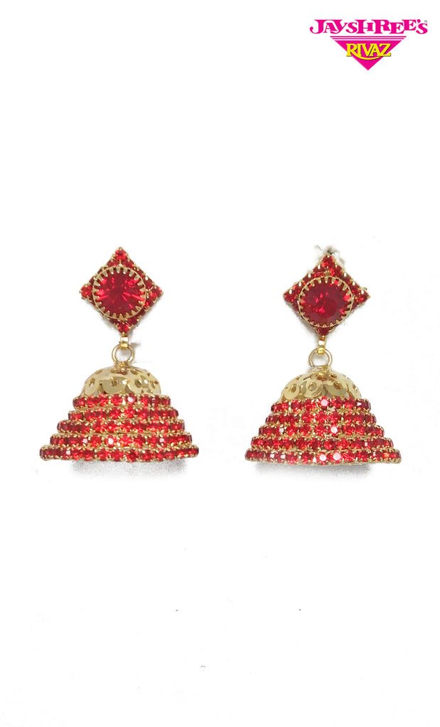 Red Jumki Earrings
