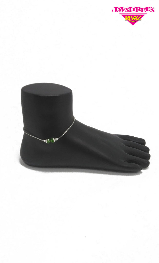Silver & Green Bead Work Anklets