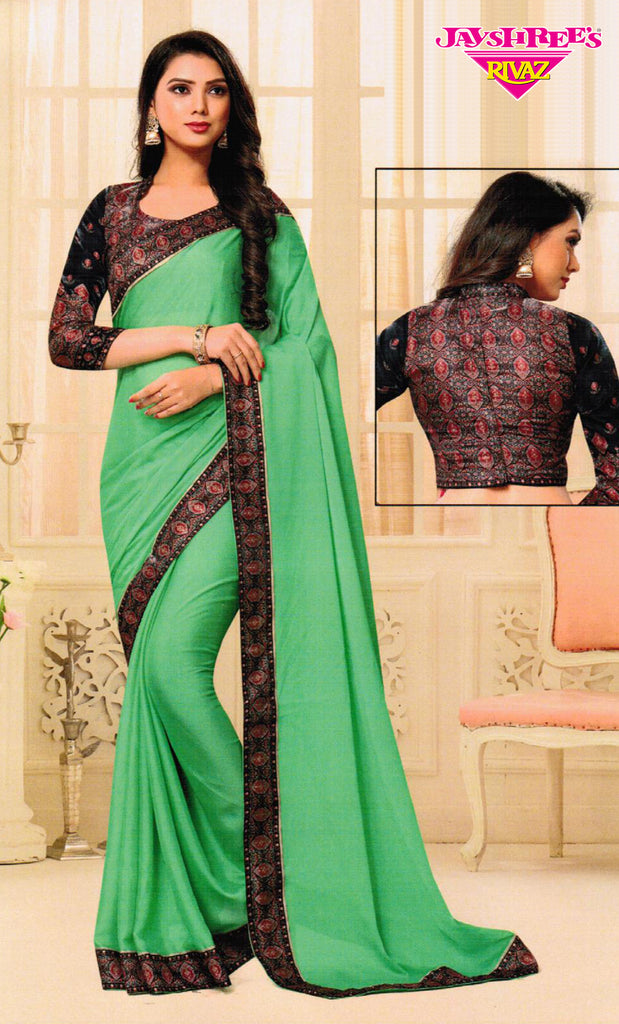 Spring Green Border Printed Sari