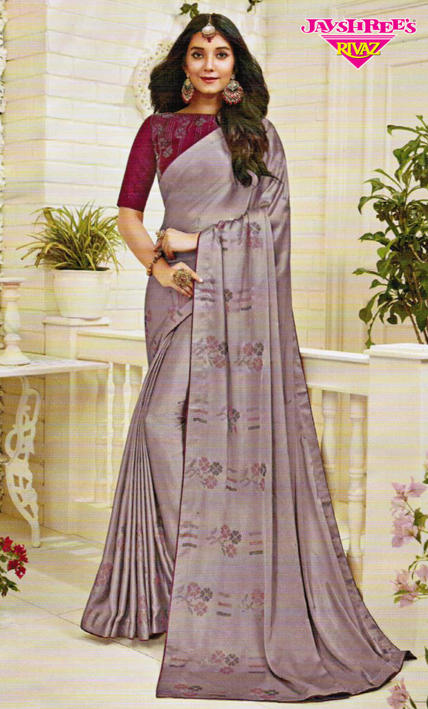 Light Grape & Wine Emb Sari