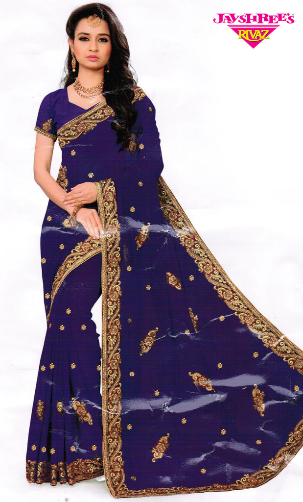 Gold & Deep Royal Blue Emb Sari