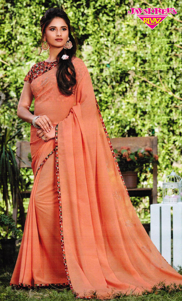 Light Peach & Check Border Sari