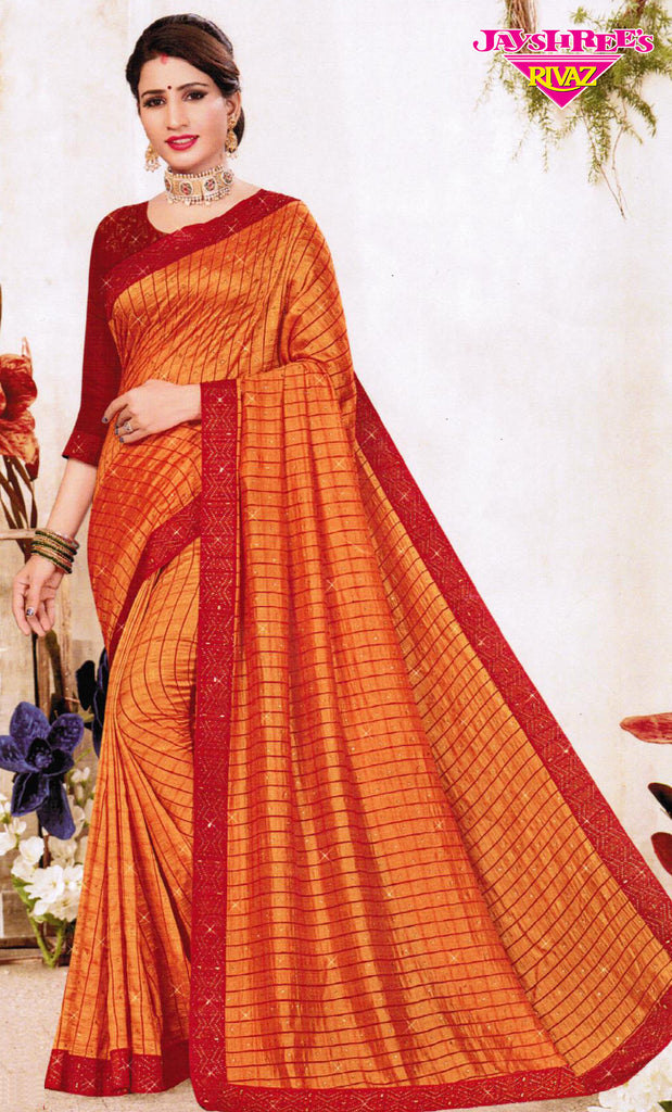 Orange & Red Emb Sari