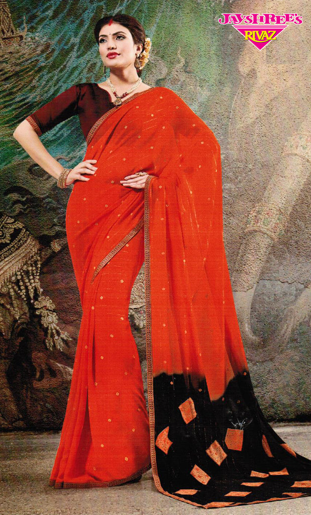 Orange & Brown Sari