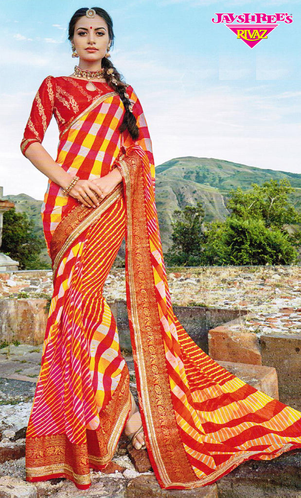 Orange & Red Striped Sari