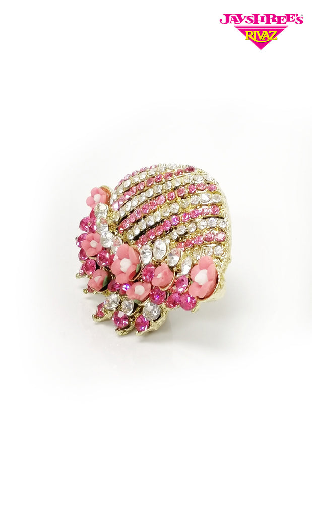 Pink Stone Work Sari Broach