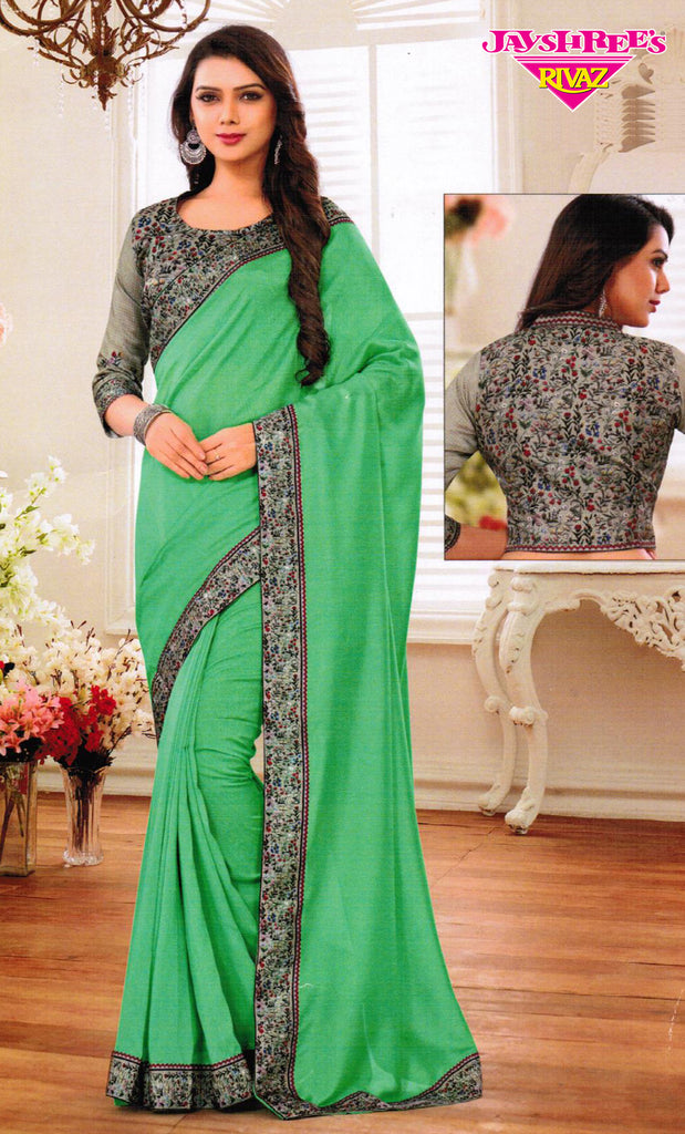 Light Green with Floral Border Sari