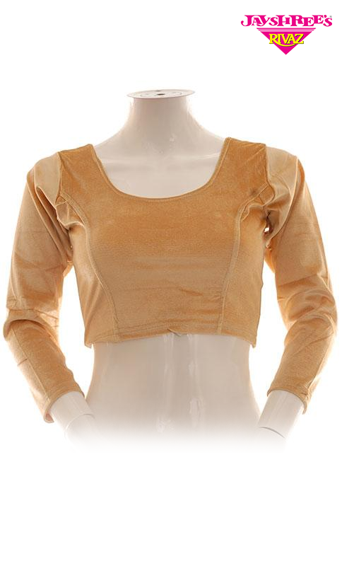 Beige Velvet Stretch Blouse - Jayshrees Online