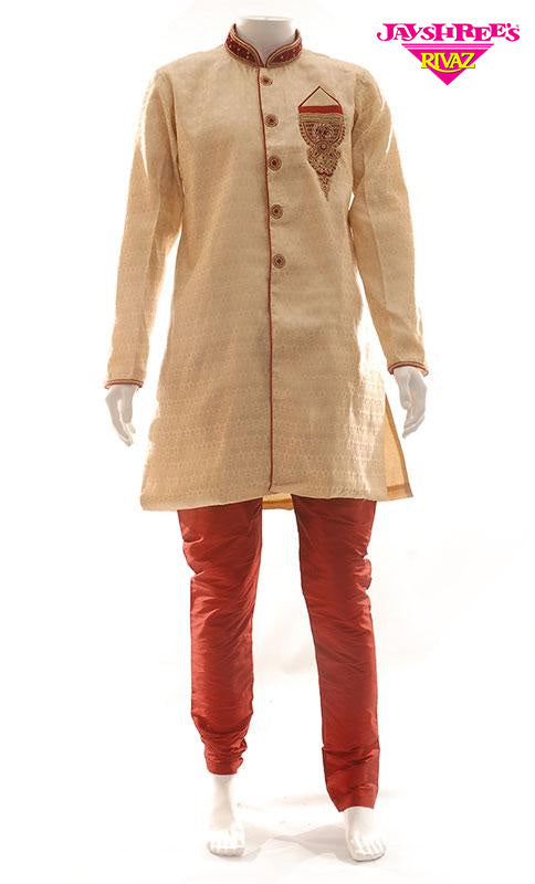 Mens Beige Kurta Suit