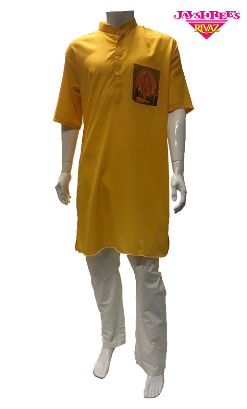 Mens Yellow Kurta Top