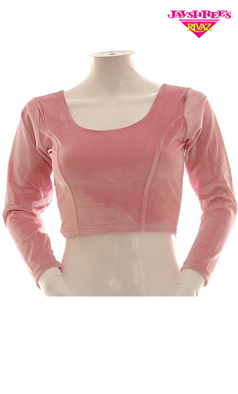 Baby Pink Velvet Stretch Blouse - Jayshrees Online