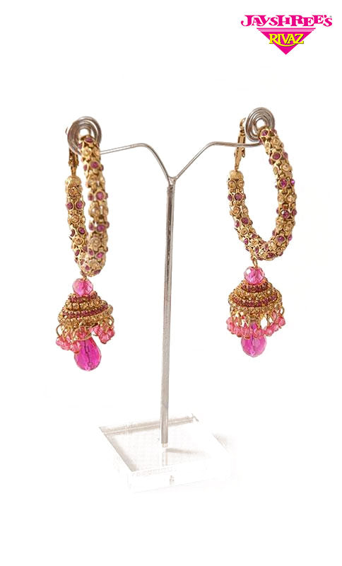 Pink Big Hoop Jumki Earrings