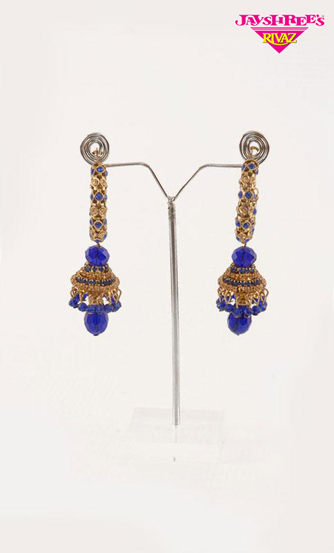 Small Hoop Royal Blue Jumki Earrings