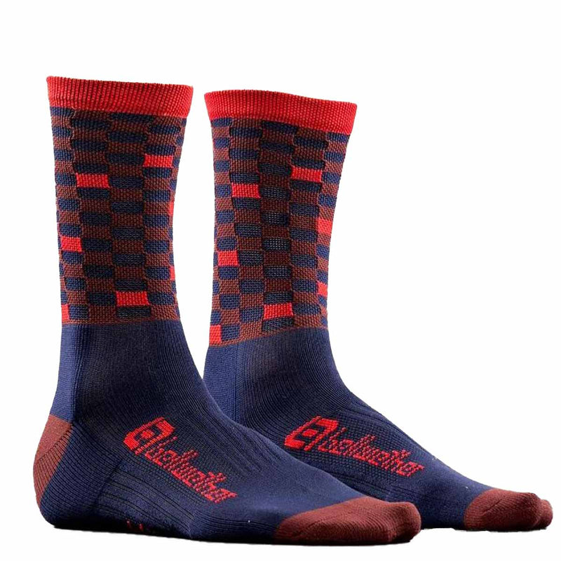 Bellwether Cycling Socks Pixel Navy Burgundy Ferrari