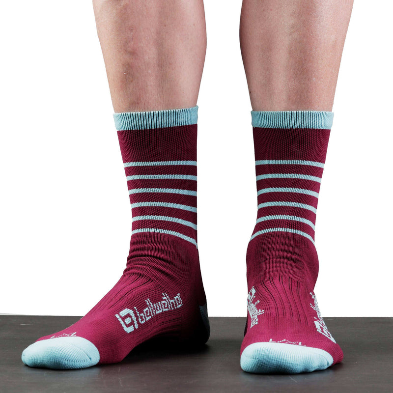 Bellwether Cycling Socks Blitz Burgundy Ice