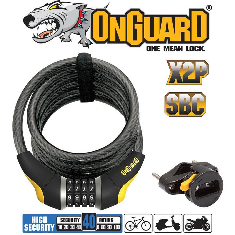On Guard Doberman Coil Combo Bicycle Lock 8031