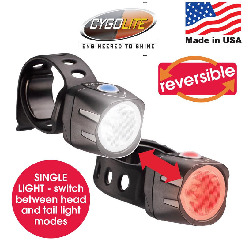 Cygolite Dice Duo 110 lm USB Rechargeable Front Light 2 in 1 Reversible Bike Light
