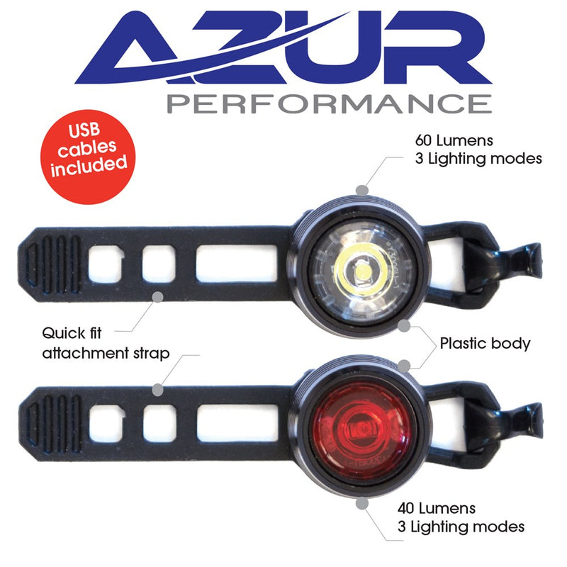 Azur Cyclops Bike Light Set (USB) Plastic Casing