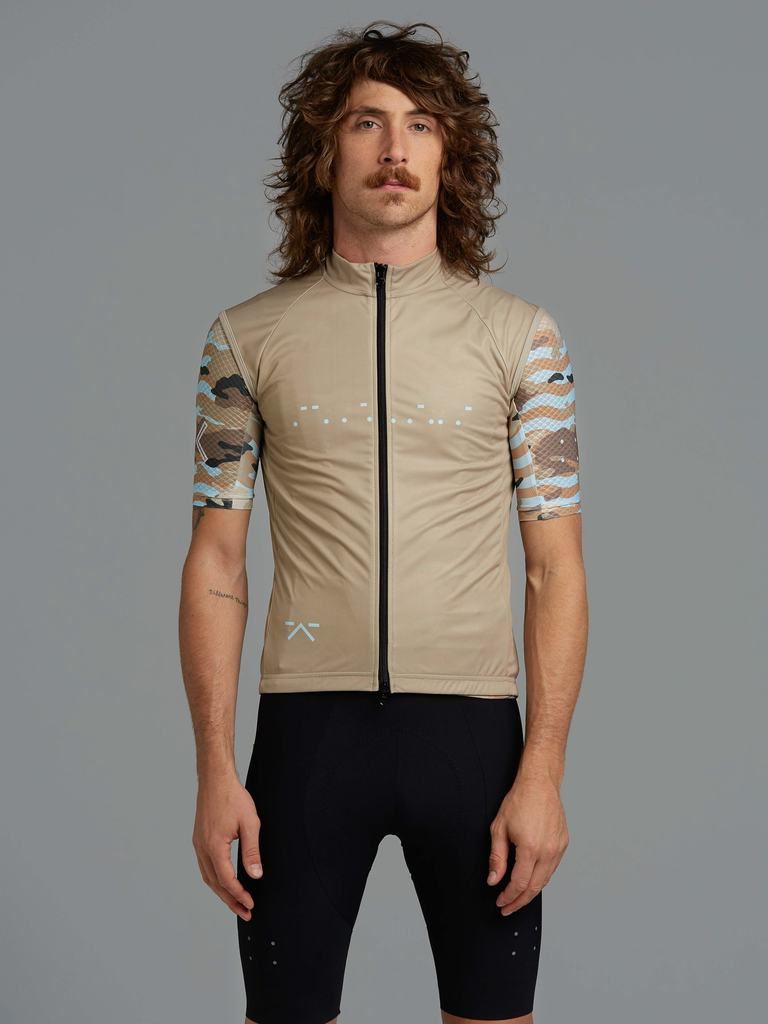 Pedla WildCAMO Wind Cheater Mens Cycling Gilet Tan