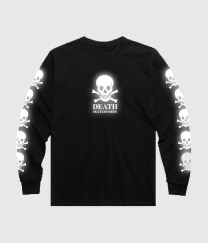 Death Skateboards 3M Reflective OG Skull Long sleeve T-Shirt Black