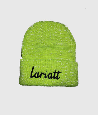 Lariatt Skate Shop Beanie 3M reflective Fluorescent Yellow