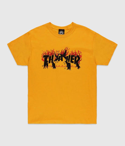 "Thrasher Skateboard Magazine ""Crows"" Tshirt Gold"