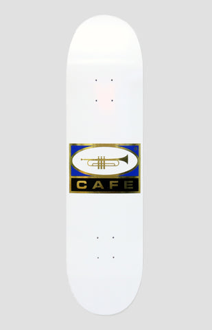 Skateboard Cafe Trumpet White/Gold Skateboard Deck 8.125""