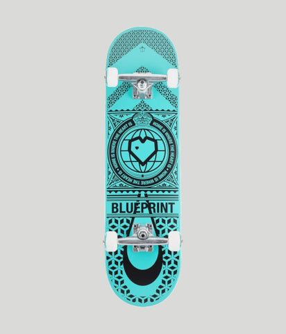 Blueprint Skateboards Home Heart Black/Turquoise Complete Skateboard 8.25""