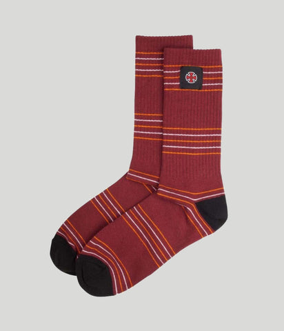 Independent Truck Co Stripes Sock Oxblood
