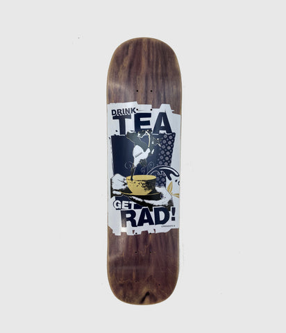 "Lovenskate Drink Tea, Get Rad on Tea Stained Wood Skateboard Deck 8.7"" Pool Shape"