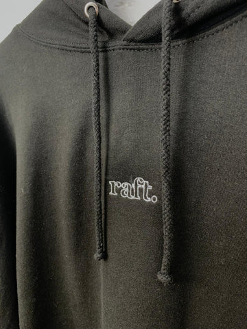 Raft Crew Embroidered Hoody Black