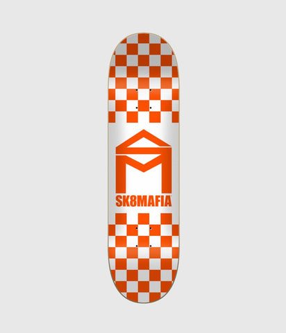 Sk8Mafia House Logo Checker Orange Skateboard Deck 8.5""