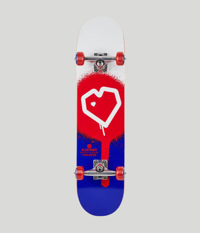 Blueprint Skateboards Spray Heart Red/Blue Complete Skateboard 8""