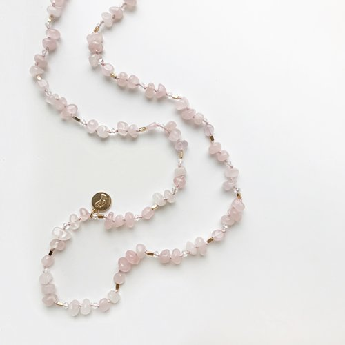 Bcharmd Alexandra Rose Quartz Necklace 230NG-T